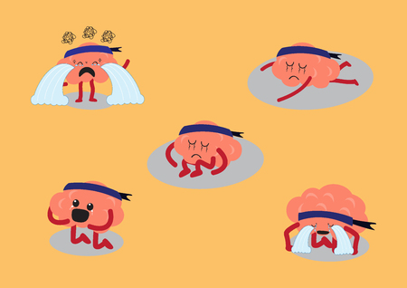 brain cartoon character illustration showing depress emotion or very sad in different actions (conceptual image about each person expressing his sadness on different manners)