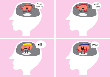 exciting: brain cartoon character vector illustration image showing how brain feel when happy and delighted inside human head  (conceptual image about how brain reacting when you are glad and exciting)