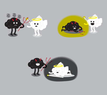 sinful: brain cartoon characters vector illustration image set showing angel and devil fighting together that has different scenes of a winner (conceptual image about human moral) Illustration
