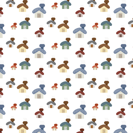 cosy: small cute cartoon house set vector illustration pattern background image showing different color shades and sizes of designs and styles of cosy house with light smoke lines