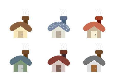 cosy: small cute cartoon house set vector illustration image showing different color shades and sizes of designs and styles of cosy house with light smoke lines Illustration
