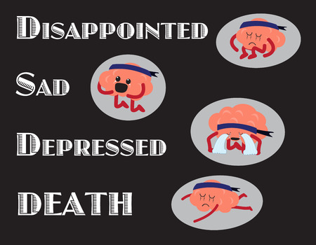 commits: brain cartoon character vector illustration showing steps of negative emotions turning to serious situations (conceptual image about why person commits suicide)