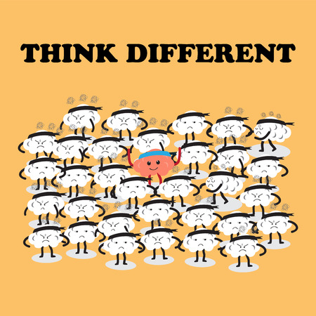 acts: brains cartoon character vector illustration image showing how one thinks and acts differently from others (conceptual image about people are stressful and frustrated but one person is happy)
