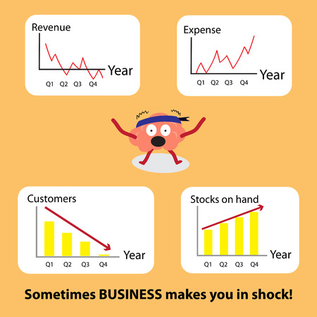 stockmarket: conceptual brain cartoon character vector illustration image showing how different business performance situations can effect you in shock