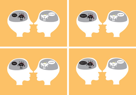 moral: brain cartoon characters vector illustration image set showing angel and devil inside head debating together by using wording about goodness and badness (conceptual image about human morality)