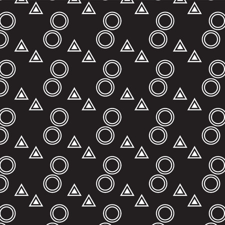 white circle roll and white triangle pattern on black background vector illustration image Illustration