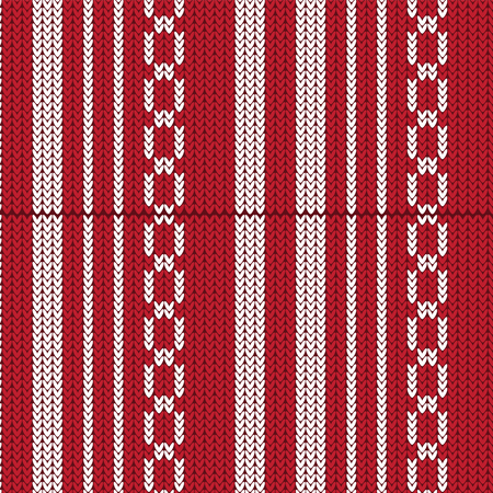 duvet: Red and white vertical striped with weave shape knitted pattern background vector illustration image