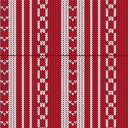 red and white vertical striped with weave shape and sharp shape knitting pattern background vector illustration image Illustration