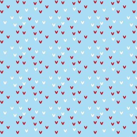 Red and white heart shape pattern on soft blue background vector illustration image Illustration