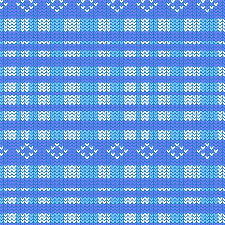 blue shade and white plaid striped with diamond shape knitting pattern background vector illustration image