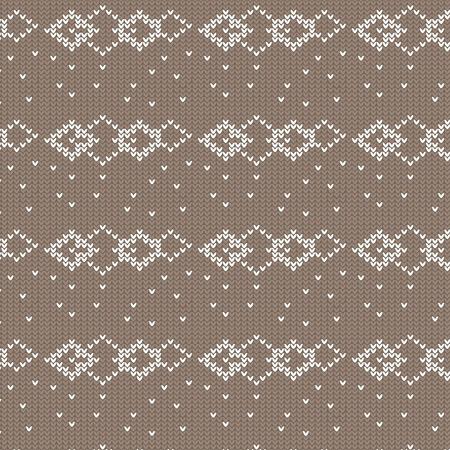 茶色し、白の菱形スポットと重なる編み物パターン背景ベクトル イラスト画像
