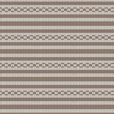 brązowy i biały paski z okręgu pętli paski dziania deseń tła ilustracji wektorowych ilustracji Ilustracje wektorowe