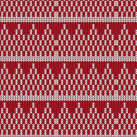 white coat: Red and white triangle stack with white striped knitting pattern background vector illustration image