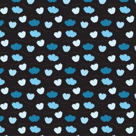 Fleur flottante bleu doux flottant sur fond noir image illustration vectorielle