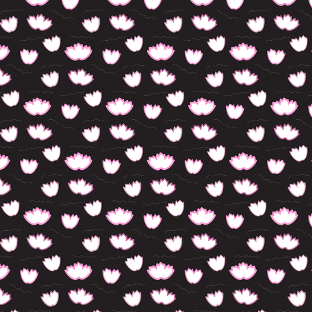 Modèle flottant de fleur offset rose doux sur fond noir vector illustration image