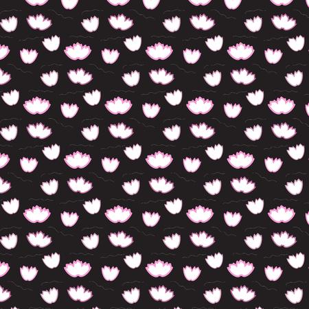 duvet: Soft pink offset flower floating pattern on black background vector illustration image Illustration