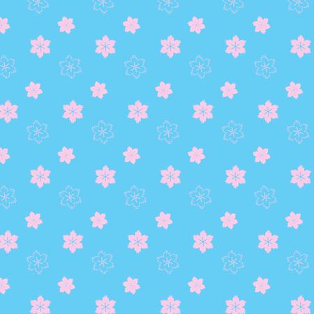 soft pink mix flower styles pattern on soft blue background vector illustration image
