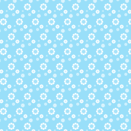 white mix flower styles pattern on soft blue background vector illustration image