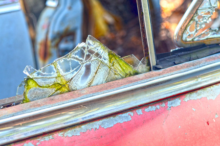 Broken window glass Фото со стока