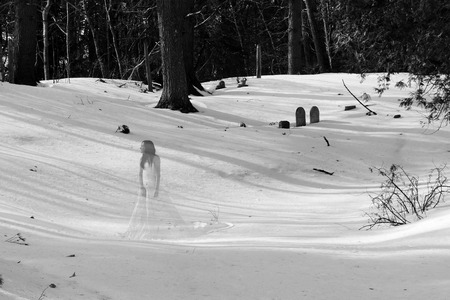 Ghost Bride in a Cemetary