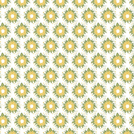 Yellow floral retro pattern
