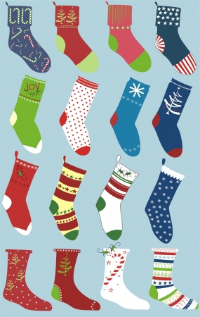 set of christmas socks isolated on blue Vector