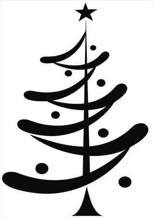 hollyberry: black christmas tree isolated on white Illustration