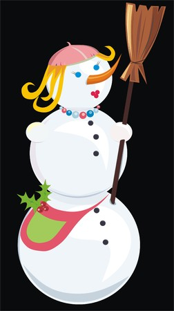 hollyberry: snowman, woman, isolated on black