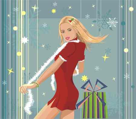 sexy stockings: junge Frau, sexy Tanz oder posiert Weihnachten Kleid