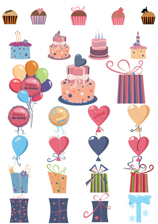torte: celebration set with muffin, cake, balloon, gift Illustration