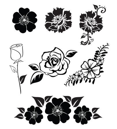 Ilustraciones de siluetas de flores