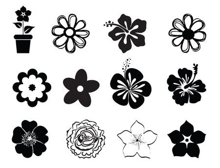 arboles blanco y negro: Conjunto de flores  Vectores
