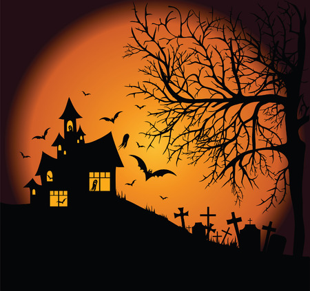 frightening: Frightening night landscape with tree, cemetery and ghost house Illustration