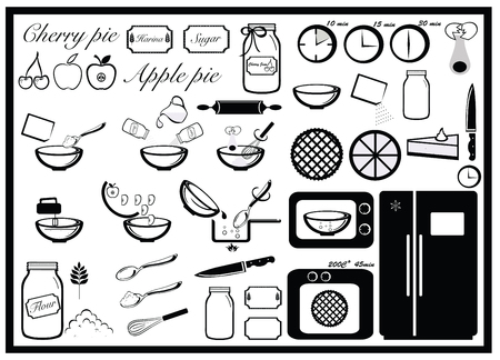 cooking recipe: Pie baking set, cooking instruction Illustration