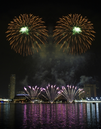 Fireworks over Marina Bay Singapore photo