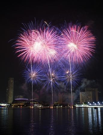 marina bay: Fireworks over Marina Bay Singapore Stock Photo