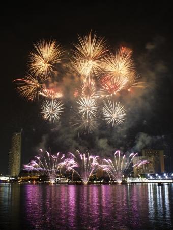 Fireworks over Marina Bay Singapore photo