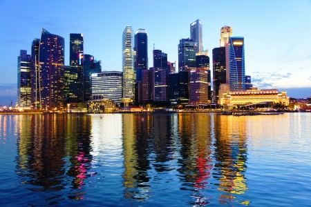 southeast asia: Cityscape at Marina Bay Business District - Singapore