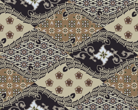 Javanese Batik Seamless Pattern  Vector