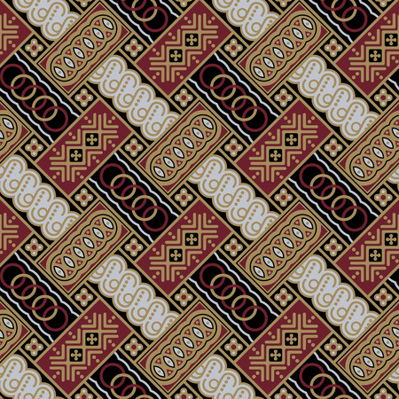 Javanese Batik Seamless Pattern - Set A1 Diagonal Vector