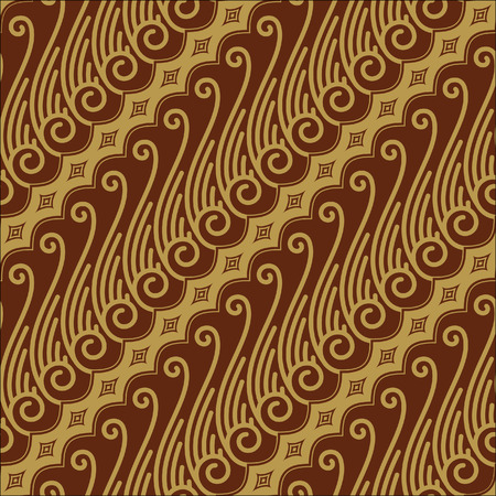 batik pattern: Javanese Batik Seamless Pattern - Set F Lereng Gold