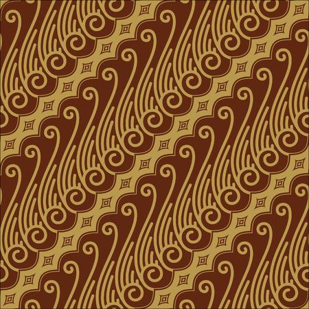 Javanese Batik Seamless Pattern - Set F Lereng Gold