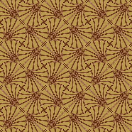 Batik Seamless Pattern - Fan - Gold  イラスト・ベクター素材