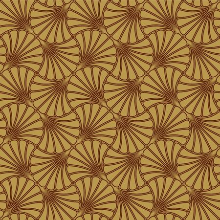 sarong: Batik Seamless Pattern - Fan - Gold Illustration