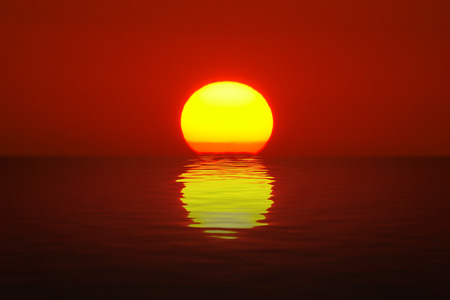 ocean sunset: Egg Yolk Sunset Stock Photo