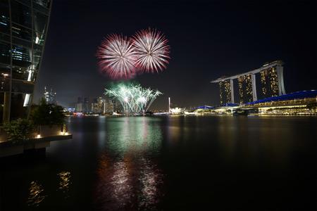 Singapore - Fireworks over Marina Bay photo