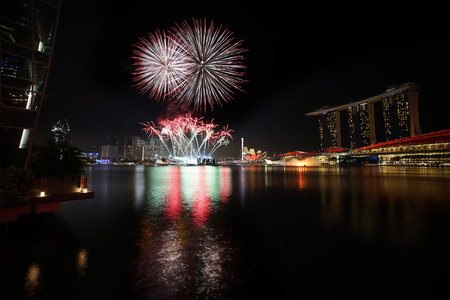 Singapore - Fireworks over Marina Bay photo