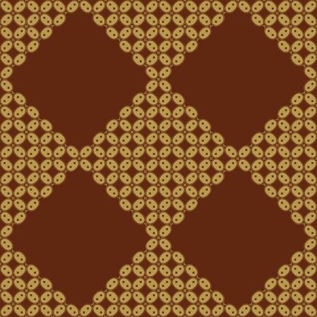 malaysia culture: Javanese Batik Seamless Pattern - Set H3 Kawung Oval Diamond Chain