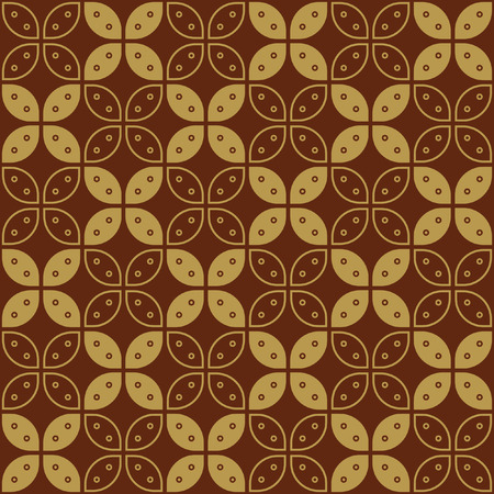 Javanese Batik Seamless Pattern - Set G Kawung Simplified Marquise Chain Stock Illustratie