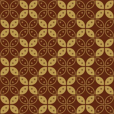 Javaanse Batik naadloze patroon - Stel G Kawung vereenvoudigd Marquise Chain Stock Illustratie